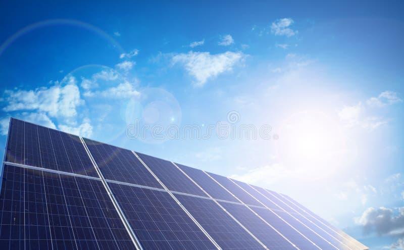 Solar panels. With blue sky stock photos