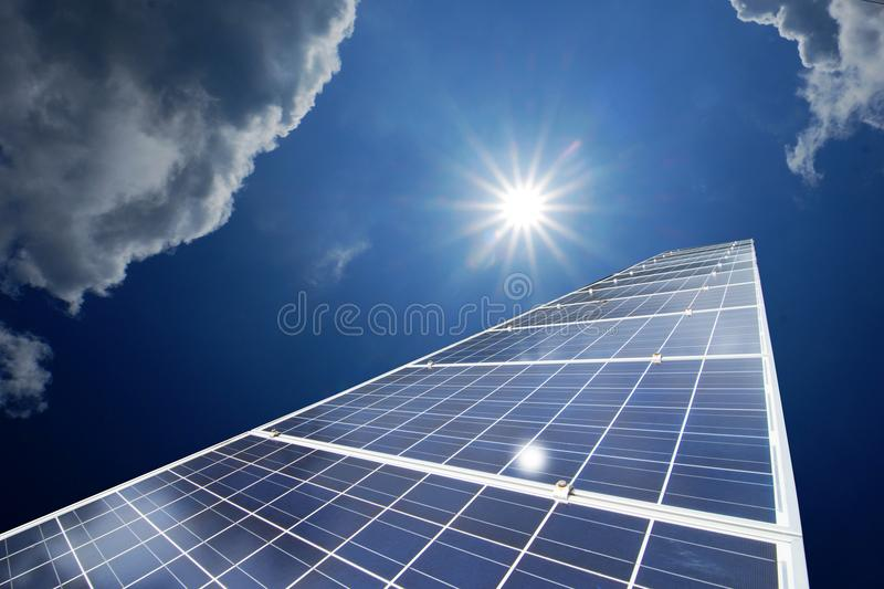 Solar panels or Solar cells energy for Electric power in Asia. royalty free stock photo