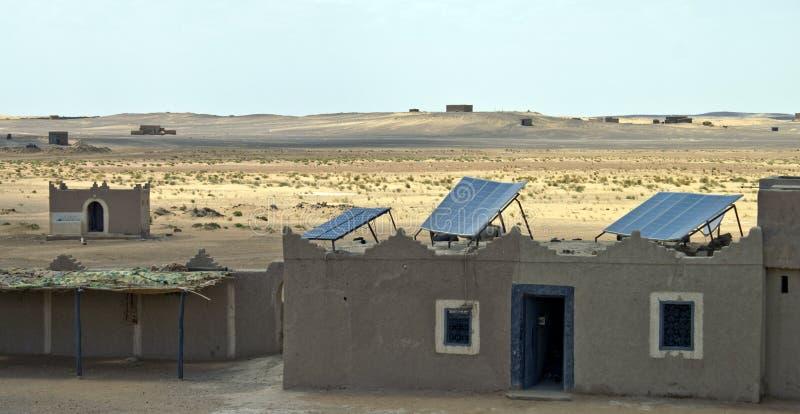 Solar panels in desert royalty free stock photography