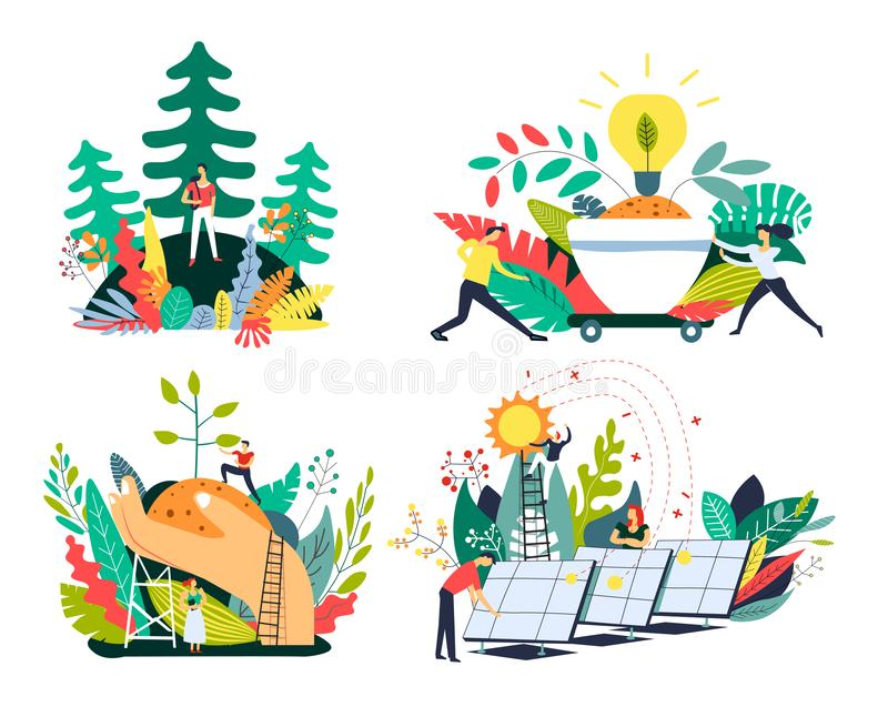 Ecology and environment, solar panels and planting trees, isolated icons. Solar panels and eco green energy, planting trees and nature protection isolated icons stock illustration