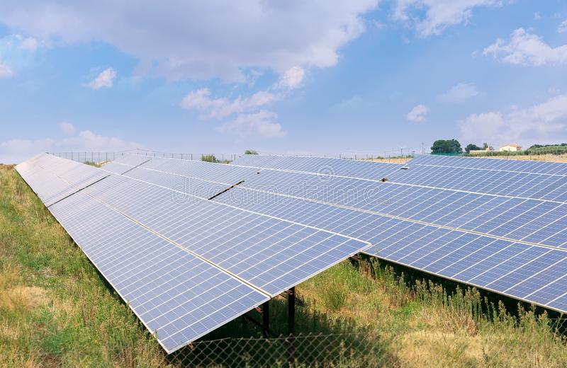 Solar panels energy. Photovoltaic technology renewable green energy concept. stock photography