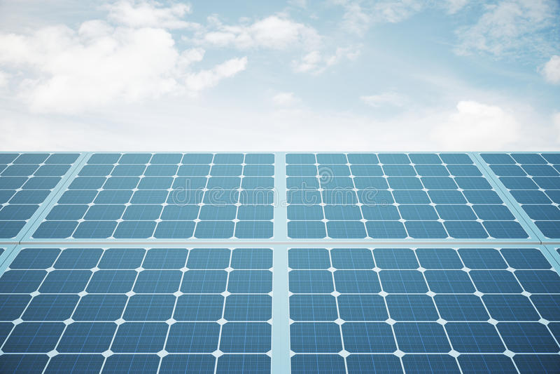 Solar panels front stock illustration