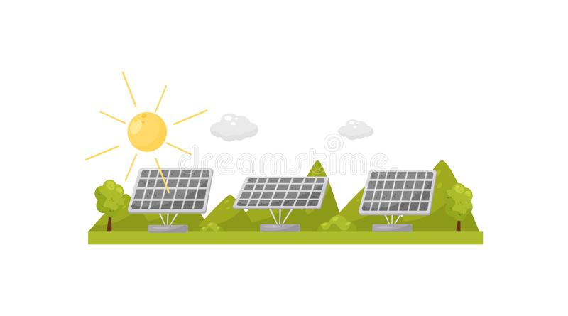 Solar panels on green grass. Pure solution. Electricity production. Alternative natural source of energy. Flat vector stock illustration
