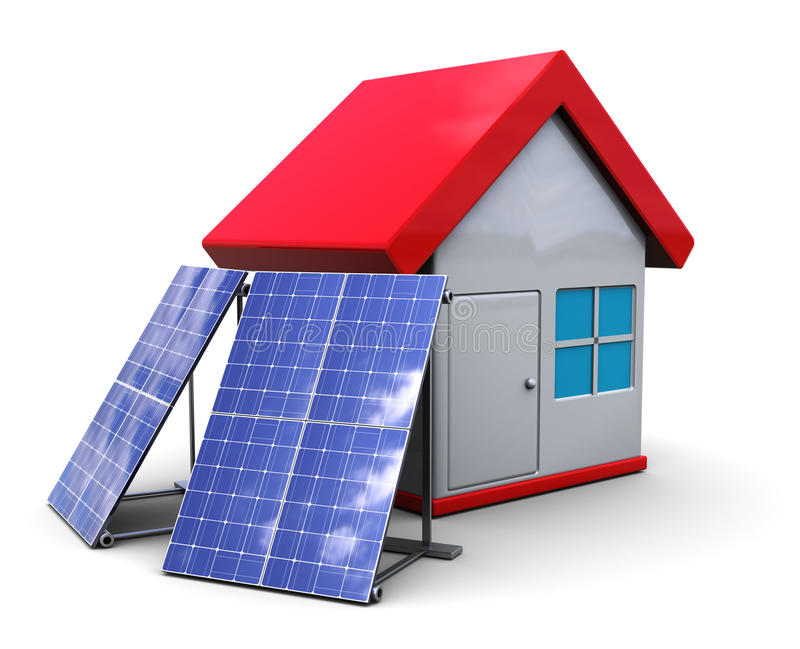 Download Solar panels and house stock illustration. Image of power - 14335090