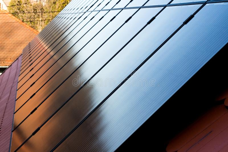 Solar panels installed on roof stock images