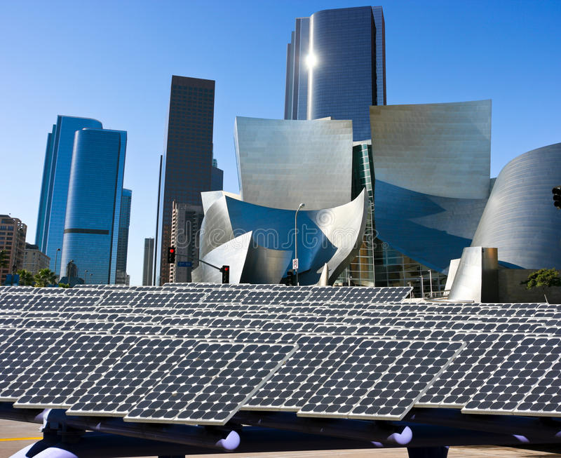 Solar panels in the modern city royalty free stock photo