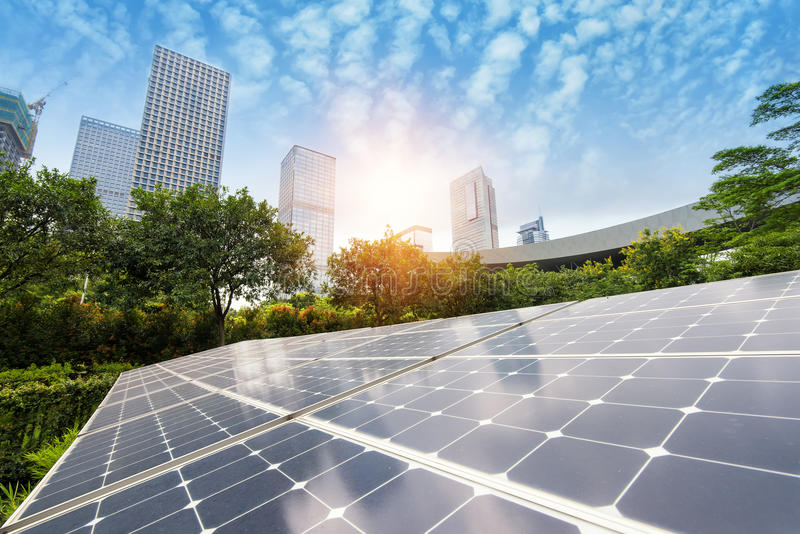 Solar Panels In Modern City royalty free stock photography