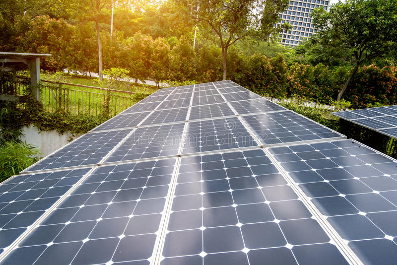 Solar Panels In Modern City stock image