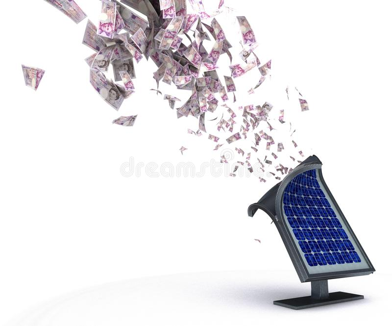 Solar panels and money vector illustration