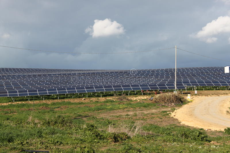 Solar Panels & Mountains Stock Image