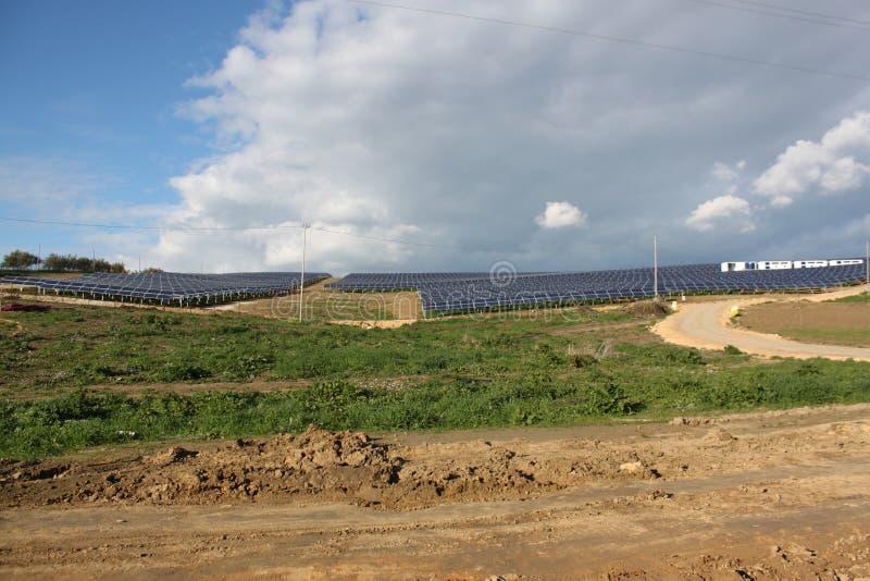 Solar Panels & Mountains Stock Photography