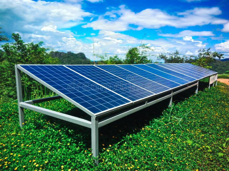 Solar panels in the nature, Solar panel, alternative electricity source - concept of sustainable resources royalty free stock photos