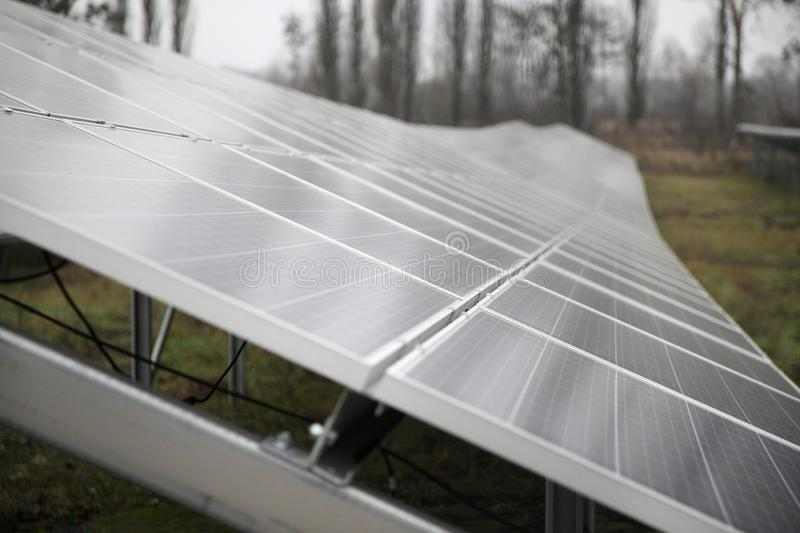 Installation of solar panels. Solar panel produces green, environmentally friendly energy from the sun. royalty free stock image
