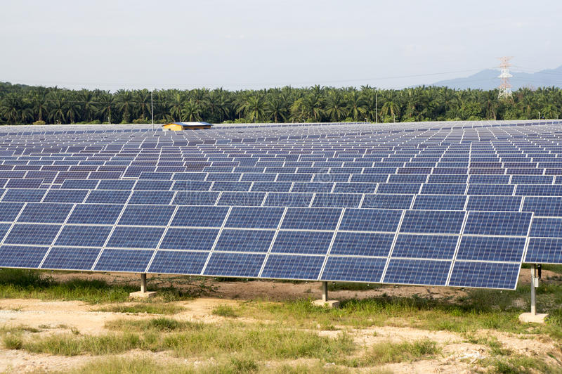 Solar Panels. Solar panel plant, a renewable energy royalty free stock photo