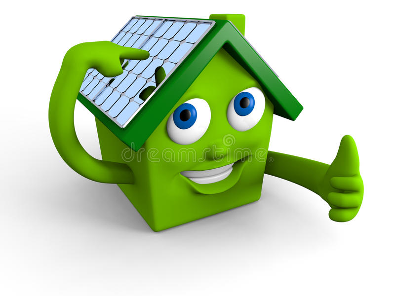 Solar panels on the roof stock illustration