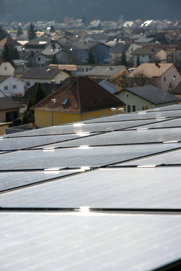 Solar panels on the roof. stock photography