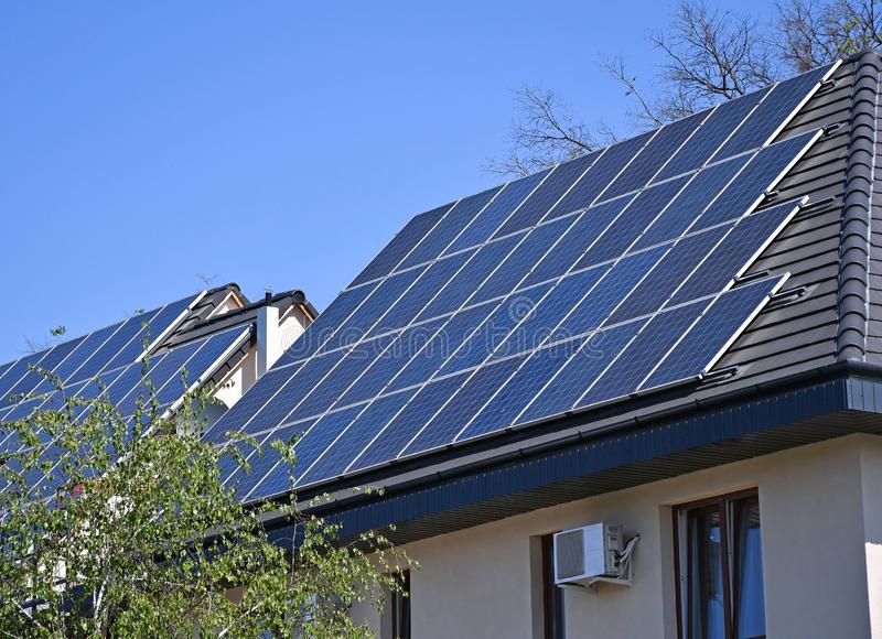 Solar panels on the roof of  a building royalty free stock image