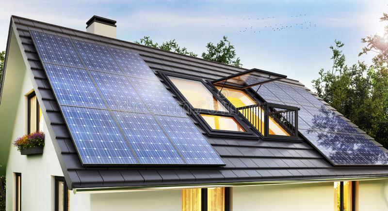 Solar panels on the roof of the modern house. Solar panels on the roof of the house stock images