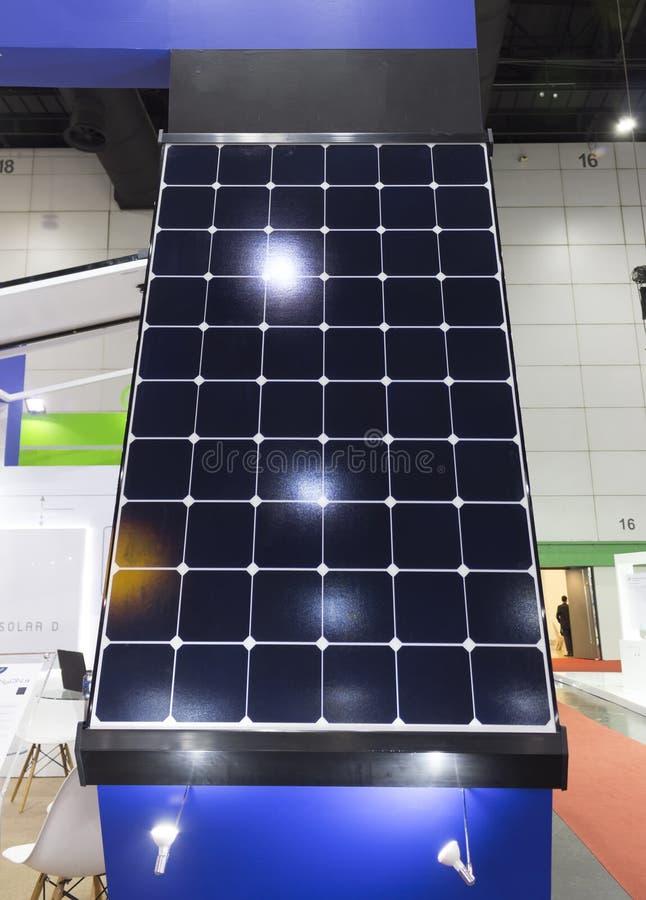 Solar panels Show in an Exhibition;solar energy;eco-friendly technology. Bangkok Thailand stock photos