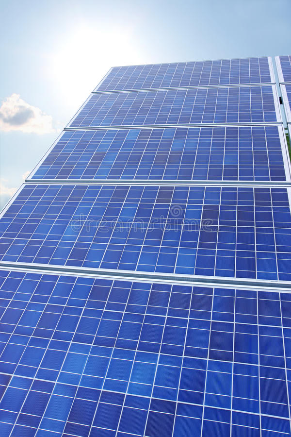 Solar Panels Sun And Sky Vertical Stock Image Image Of