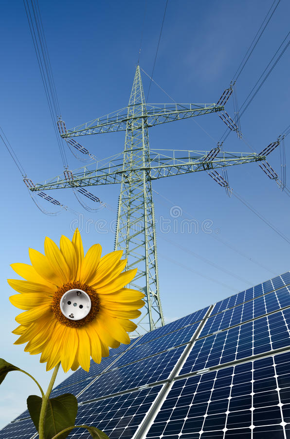 Download Solar Panels, Sunflower, Utility Pole With Wires Stock Photos - Image: 23275083
