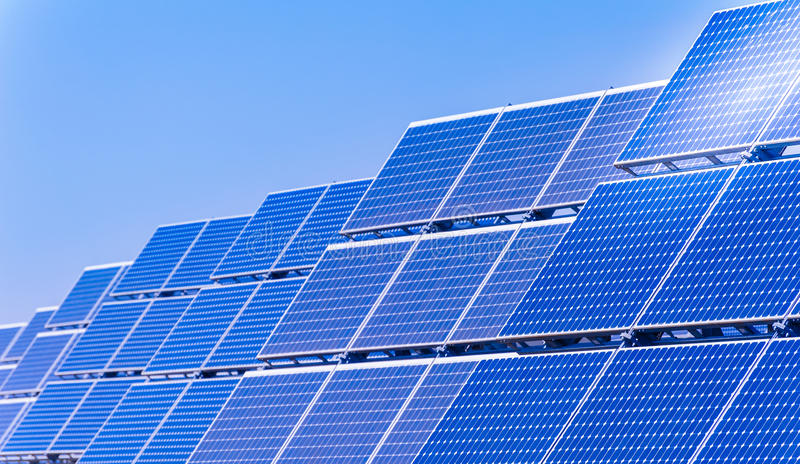 Solar panels. To produce energy in an environmentally friendly manner stock photo