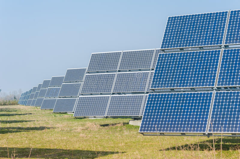 Solar panels. To produce energy in an environmentally friendly manner royalty free stock image