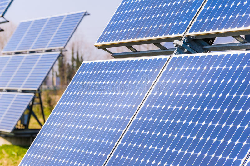 Solar panels. To produce energy in an environmentally friendly manner royalty free stock photography