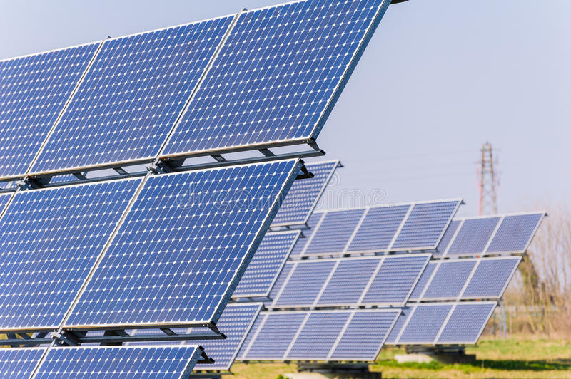 Solar panels. To produce energy in an environmentally friendly manner stock images