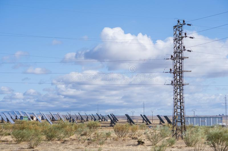 Solar panels with tracker field for generating sustainable energy royalty free stock images
