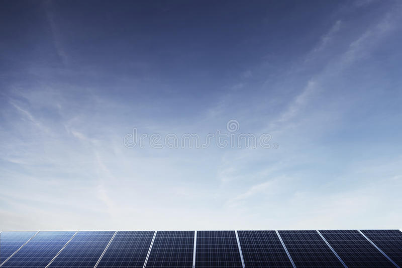 Solar Panels. Under a big blue sky with copyspace royalty free stock photo