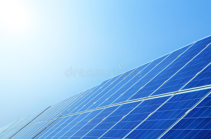Solar panels under sky royalty free stock photo