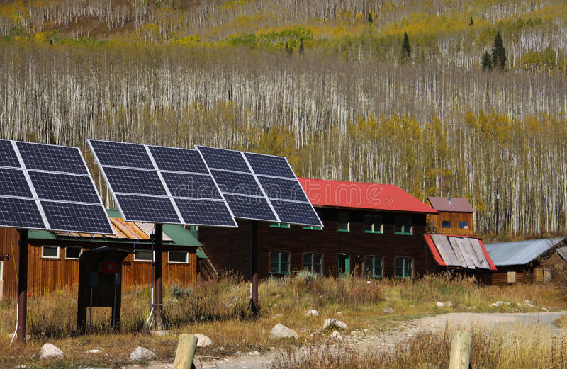 Solar panels in a village royalty free stock photography