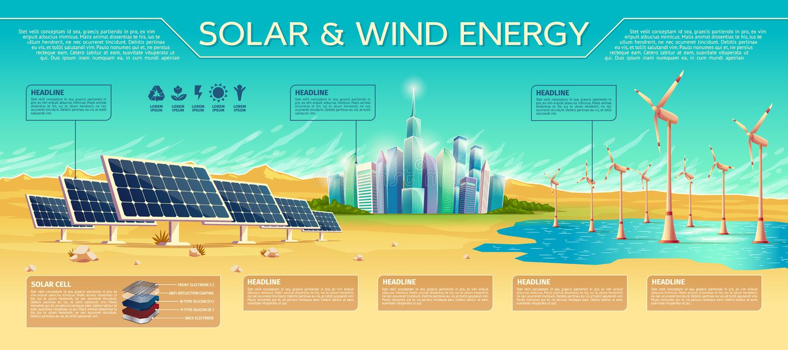 Solar and wind energy vector concept illustration royalty free illustration