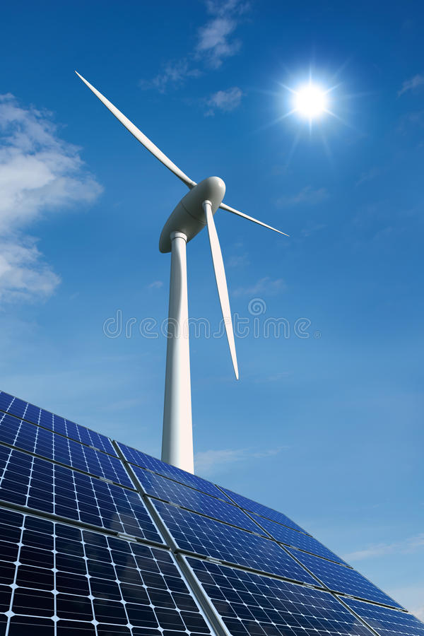 Download Solar Panels And Wind Turbine Against A Sunny Sky Stock Illustration - Image: 21024350
