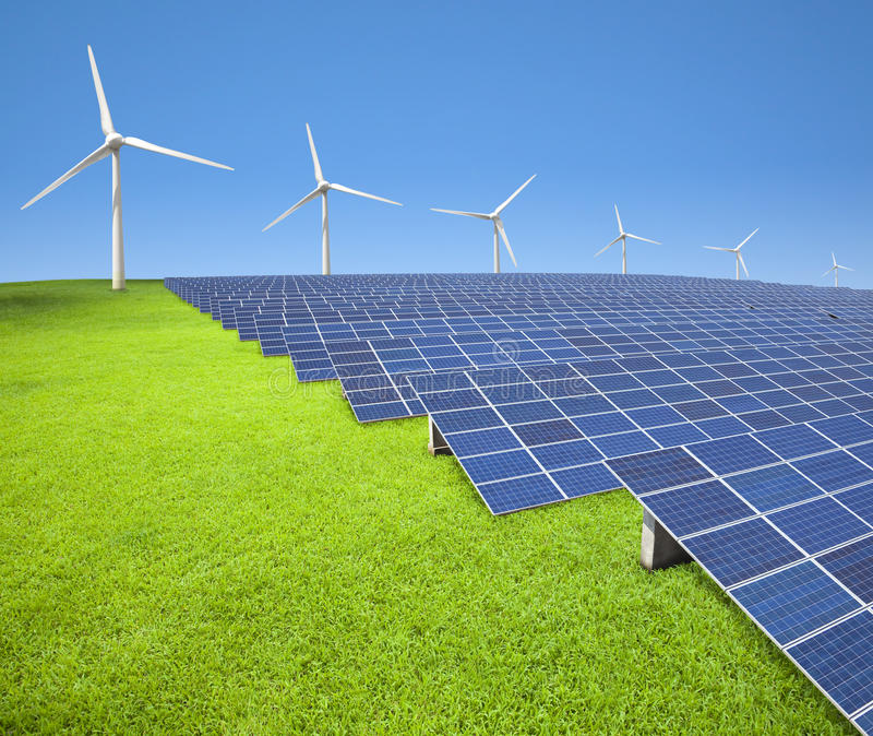 Download Solar Panels And Wind Turbines Stock Image - Image: 22156539