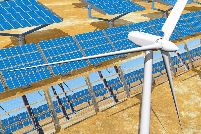 Download Solar Panels And Wind Turbines Stock Illustration - Image: 22818311