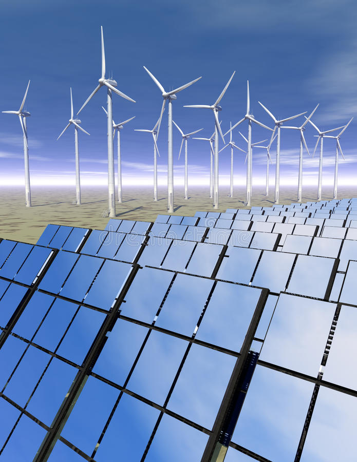 Download Solar Panels And Wind Turbines In The Desert Stock Illustration - Image: 15867207