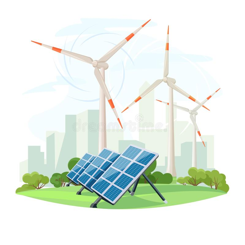 Solar panels and wind turbines, green energy, urban landscape, ecology. Ecological sustainable energy supply. Vector stock illustration