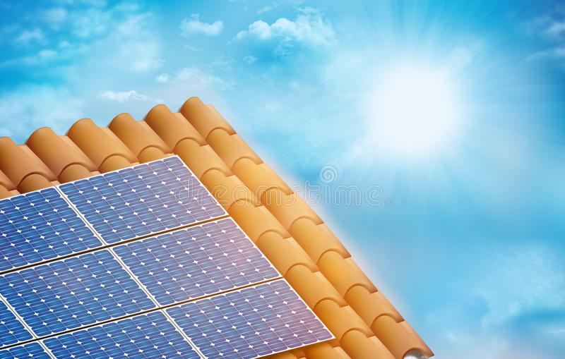 Solar photovoltaic panel installed on a tiled roof of a house. Sky background with clouds and sun. 3D illustration royalty free illustration