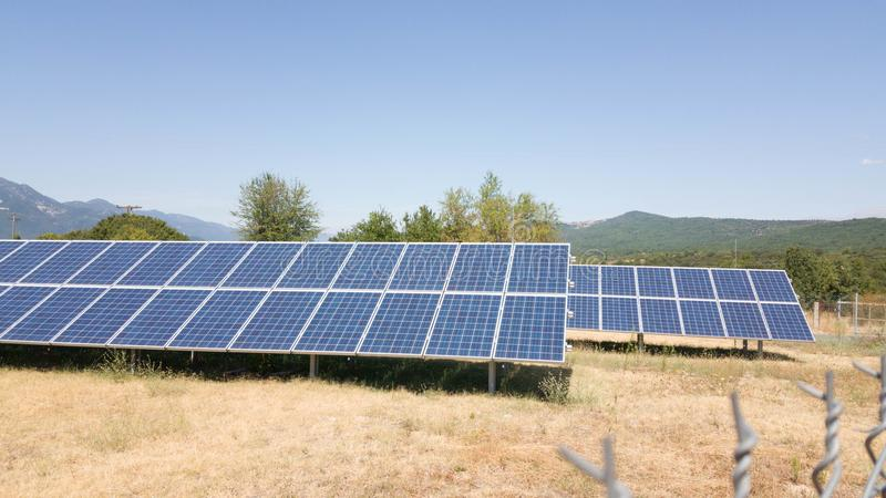 Solar photovoltaic park energy stock images
