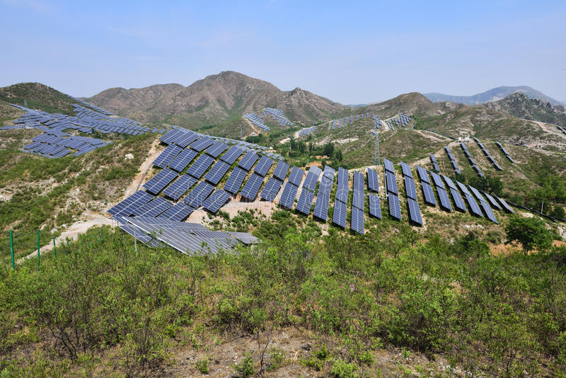 Solar photovoltaic power generation royalty free stock photo