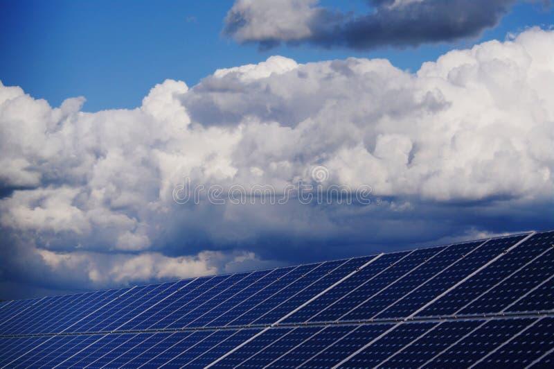 Solar plant. Solar collector energy plant outside against sky stock photo