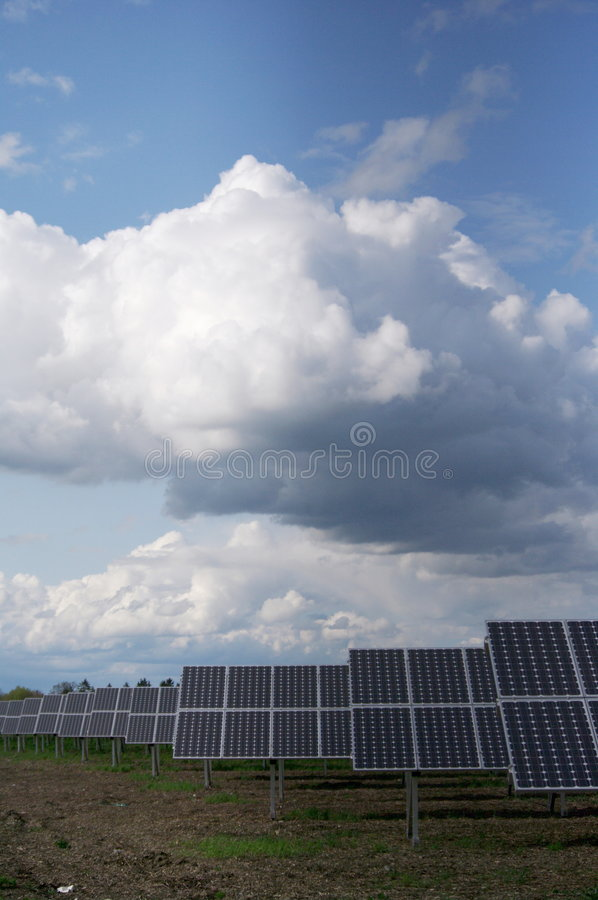Solar plant. Solar collector energy plant outside royalty free stock photography