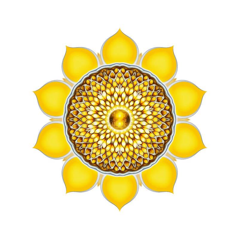 The Solar Plexus Chakra Mandala. Illustration of the solar plexus chakra vector illustration