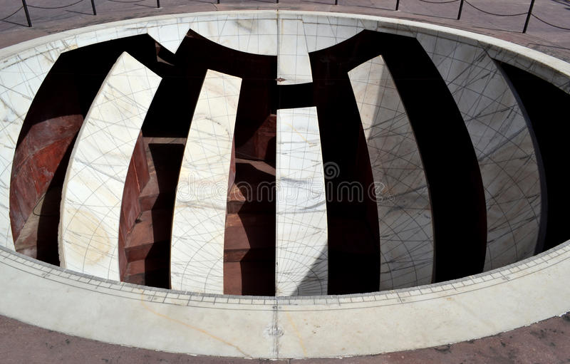 Solar position finding instrument at astronomical observatory Jaipur Rajasthan India. This instrument is called jai prakash yantra in Hindi language. A map of stock photos