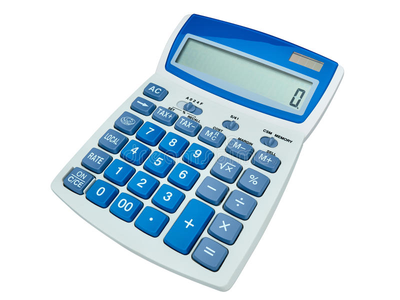 Solar power calculator isolated. On white stock photography