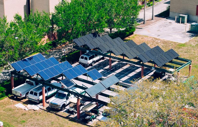 Solar power for car charging royalty free stock photos