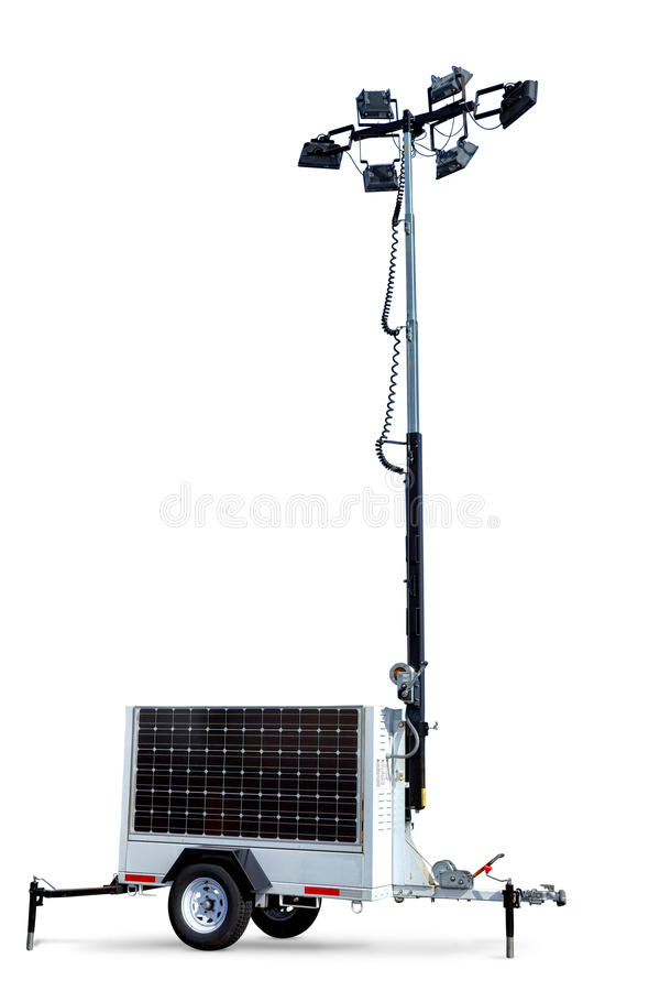 Solar Power Electric Light Tower Mobile Trailer stock photo