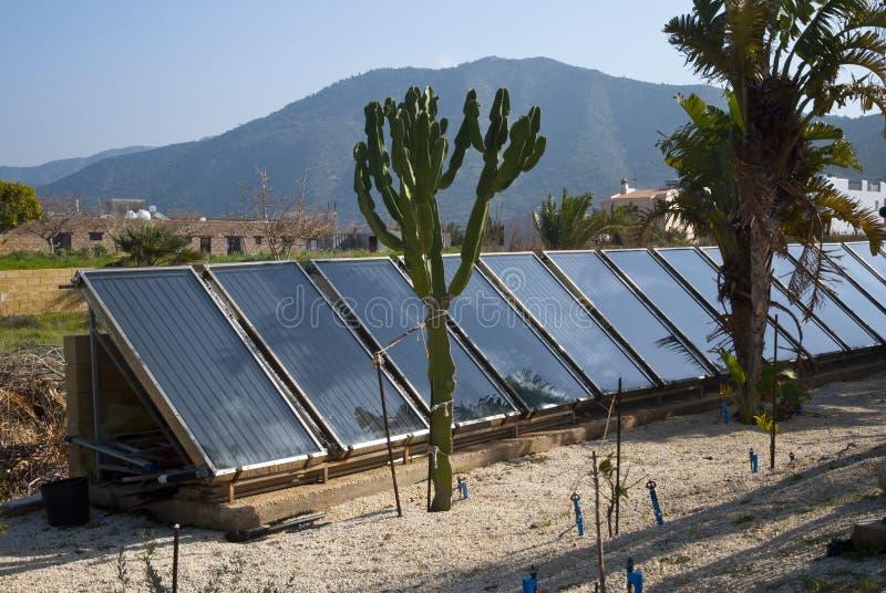 Solar power energy batterys for home stock images